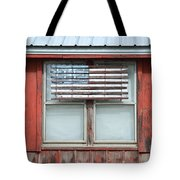 Wooden American Flag On Red Barn Tote Bag
