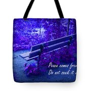 Wooden Bench With Inspirational Text Tote Bag