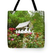 Wooden Bird House On A Pole 3 Tote Bag