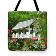 Wooden Bird House On A Pole 4 Tote Bag