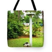 Wooden Bird House On A Pole 6 Tote Bag