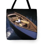 Wooden Boat And Paddles In Halibut Cove Tote Bag