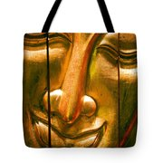 Wooden Buddha Face Tote Bag