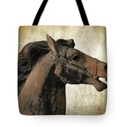 Wooden Carousel Horse Tote Bag
