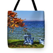 Wooden Chairs On Autumn Lake Tote Bag