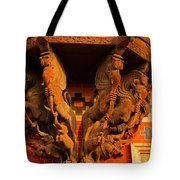 Wooden Elephants Tote Bag