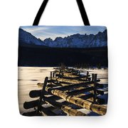 Wooden Fence And Sawtooth Mountain Range Tote Bag