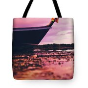 Wooden Fishing Thai Boat Sunken On The Rocky Beach During Tide Tote Bag
