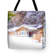Wooden House In Winter Forest Tote Bag