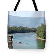 wooden house on rock Drina river Serbia Tote Bag