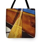 Wooden Paddle And Canoe Tote Bag