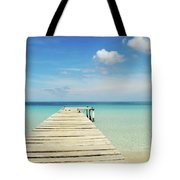 Wooden Pier On A Perfect Tropical Caribbean White Sand Beach Tote Bag