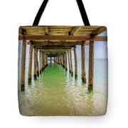 Wooden Pier Stretching Into The Sea Tote Bag