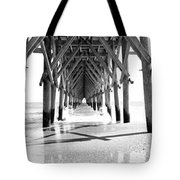Wooden Post Under A Pier On The Beach Tote Bag