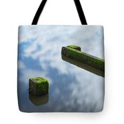 Wooden Posts At Low Tide Tote Bag