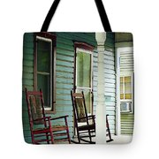 Wooden Rocking Chairs On Porch Tote Bag