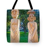 Wooden Sculptures In Central Park In Bariloche-argentina Tote Bag