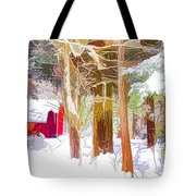 Wooden Shed In Winter Tote Bag