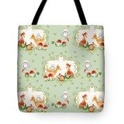 Woodland Fairy Tale - Mint Green Sweet Animals Fox Deer Rabbit Owl - Half Drop Repeat Tote Bag
