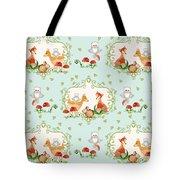 Woodland Fairy Tale - Sweet Animals Fox Deer Rabbit Owl - Half Drop Repeat Tote Bag
