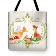 Woodland Fairytale - Grey Animals Deer Owl Fox Bunny N Mushrooms Tote Bag