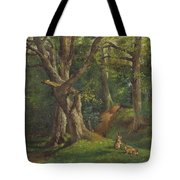 Woodland Scene With Rabbits Tote Bag
