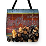 Woodpile With Taste - Dr Pepper Rustic Antique Red Country Southwest Tote Bag