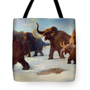 Wooly Mammoths Near The Somme River Tote Bag