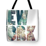 Word Usa Manhattan Skyline At Sunset, New York City  Tote Bag