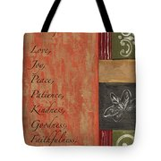 Words To Live By, Fruit Of The Spirit Tote Bag