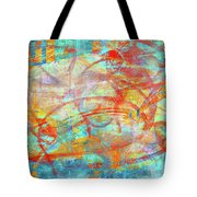 Work 00099 Abstraction In Cyan, Blue, Orange, Red Tote Bag by Alex Hall