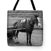Work Horse And Cart Tote Bag