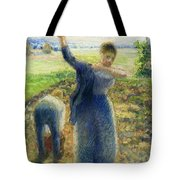 Workers In The Fields 1896-97 Camille Pissarro Tote Bag
