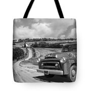 Down On The Farm- International Harvester In Black And White Tote Bag