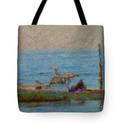 Working Hard Lobster Boat Smugglers Cove Boothbay Harbor Maine Tote Bag