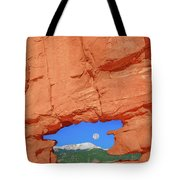 World-famous Pikes Peak Framed By What We Call The Keyhole  Tote Bag
