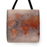World Map Brown Tote Bag