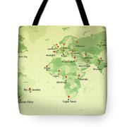 World Map Countries Cities Straight Pin Vintage Tote Bag