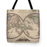 World Map Divided Into Two Hemispheres Tote Bag