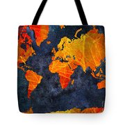 World Map - Elegance Of The Sun - Fractal - Abstract - Digital Art 2 Tote Bag by Andee Design
