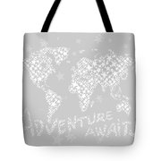 World Map For Kids White Gray Tote Bag