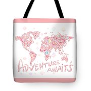 World Map Geometric Colorful Pink Tote Bag