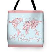 World Map Geometric Pink Mint  Tote Bag