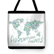 World Map Geometric Spring Color Tote Bag