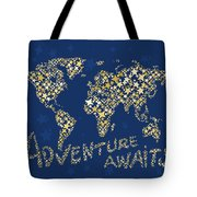 World Map Gold Yellow Star Navy Blue Tote Bag
