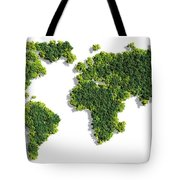 World Map Made Of Green Trees Tote Bag
