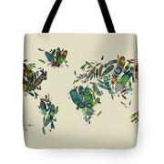 World Map Mandala Feathers 3 Tote Bag