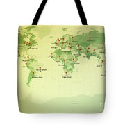 World Map Miller Cities Straight Pin Vintage Tote Bag