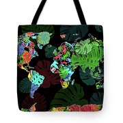World Map Monstera Leaves  8 Tote Bag
