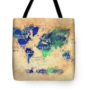 World Map Oceans And Continents Art Tote Bag